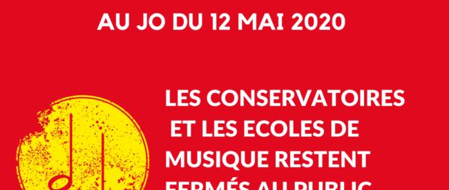 Les conservatoires et les écoles de musique restent fermés au public jusqu'à nouvel ordre